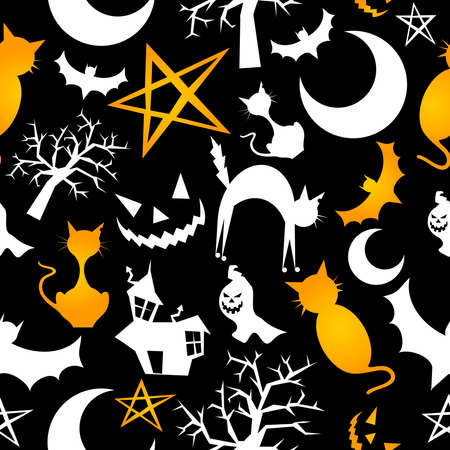 Funny halloween characters seamless pattern background. Vector illustration layered for easy manipulation and custom coloring.