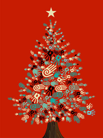Diversity Christmas Tree hands background for greeting card. Vector illustration layered for easy manipulation and custom coloring. Vector