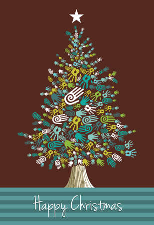 Diversity Christmas Tree hands greeting card. Vector illustration layered for easy manipulation and custom coloring. Vector