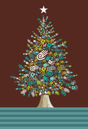 Diversity Christmas Tree hands background for greeting card  Vector illustration layered for easy manipulation and custom coloring  Stock Vector - 14777634