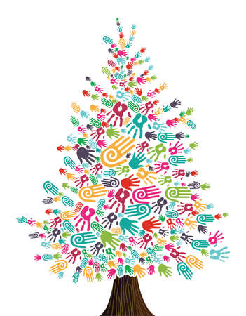 friendship tree: Diversity Christmas Tree hands isolated for greeting card  Vector illustration layered for easy manipulation and custom coloring