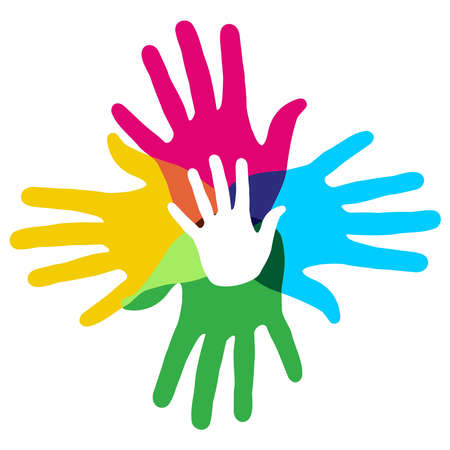 segítség: Sokszínű kulturális sokszínűség kézfogást ábrázoló jele, vektoros illusztráció réteges egyszerű manipuláció és egyedi színezés