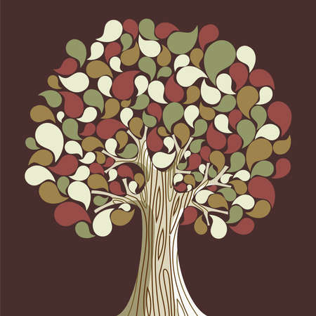 Abstract autumn time floral tree  Vector illustration layered for easy manipulation and custom coloring