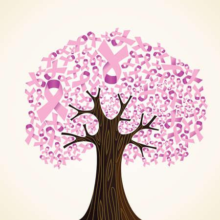 pechos: Cinta rosada del c�ncer de mama concepto del �rbol ilustraci�n vectorial en capas para una f�cil manipulaci�n y colorante de encargo Vectores