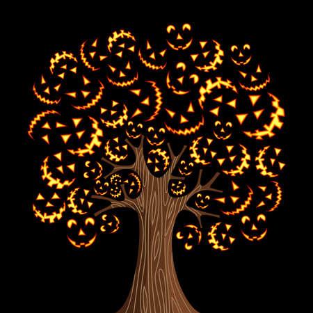 boom halloween: Halloween boom met horror iconen achtergrond Vector illustratie gelaagd voor gemakkelijke manipulatie en aangepaste kleur- Stock Illustratie