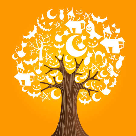 Halloween tree icons background  Vector illustration layered for easy manipulation and custom coloring  Vector
