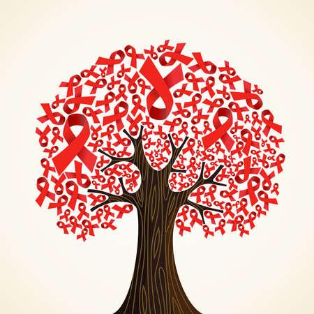 consciência: Red AIDS fitas conceito da �rvore de ilustra��o vetorial em camadas para f�cil manipula��o e colora��o personalizada