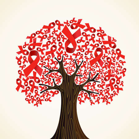 Red AIDS ribbons concept tree  Vector illustration layered for easy manipulation and custom coloring