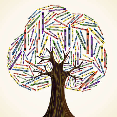 education help: School art education concept tree made with crayons  Vector file layered for easy manipulation and custom coloring