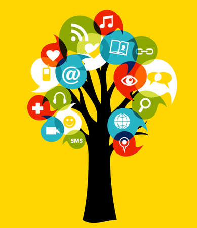 Social network tree with media icons leaf Vector illustration layered for easy manipulation and custom coloring