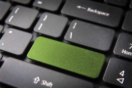 green it: Green key on laptop keyboard with blank space  Included  so you can easily edit it and include your own color, text or icon  Stock Photo