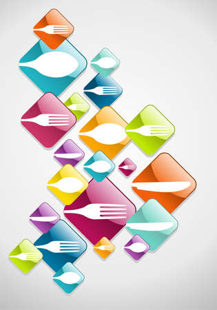 food industry: Multicolored cutlery web icons background for food industry