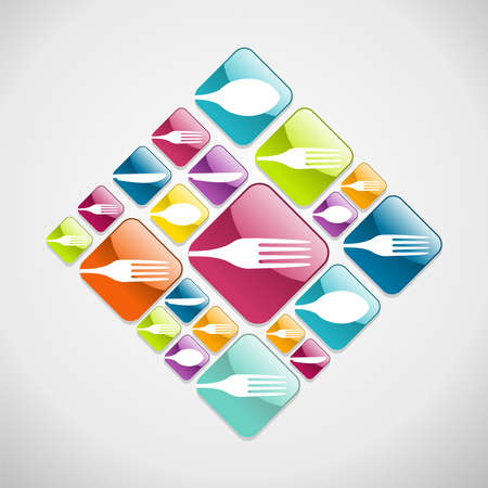 spoon fork: Multicolored restaurant web glossy icons background for food industry