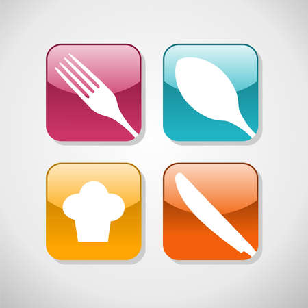 gourmet meal: Multicolored cutlery web icons set  Restaurant and food industry background