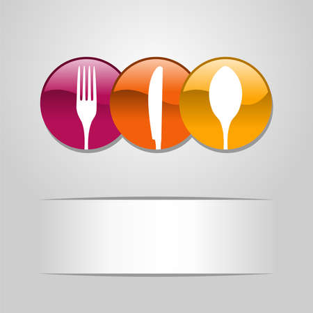 Web multicolor botones alimentos icono cuchara, tenedor y cuchillo bandera restaurante Ilustración de vector