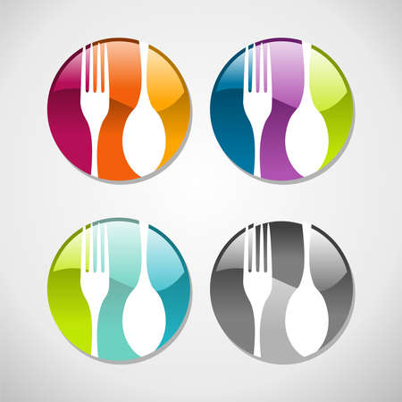 silver cutlery: Multicolored glossy food web icons set background