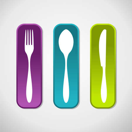 spoon fork: Gourmet icons set background