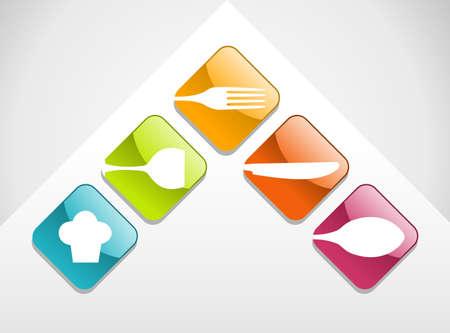 Bunte glänzende Gourmet-Icons Hintergrund