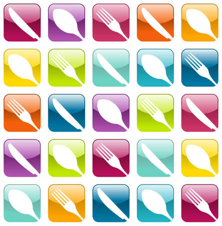 Multicolored cutlery icons set seamless pattern background   Vector