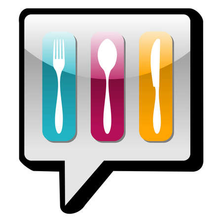 Food industry icons in social networks speech bubble Vector