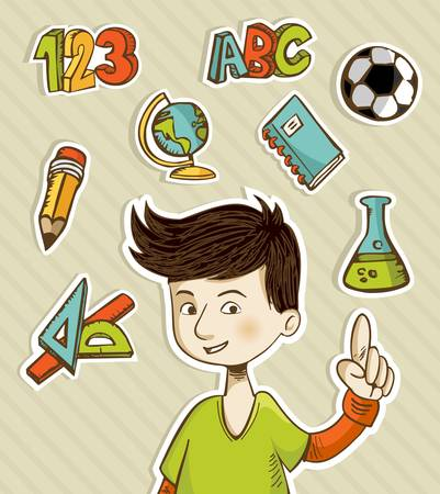 Back to School cartoon kid showing hand drawn icons set.  Vector