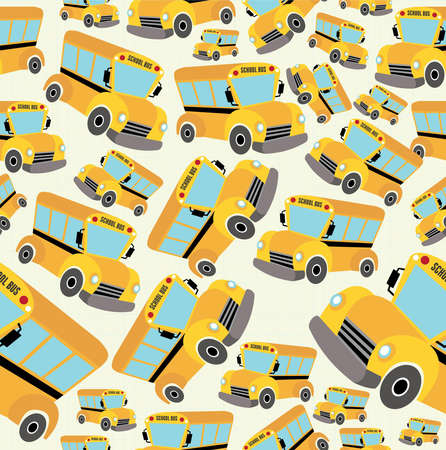 endlessly: School bus pattern illustration background.
