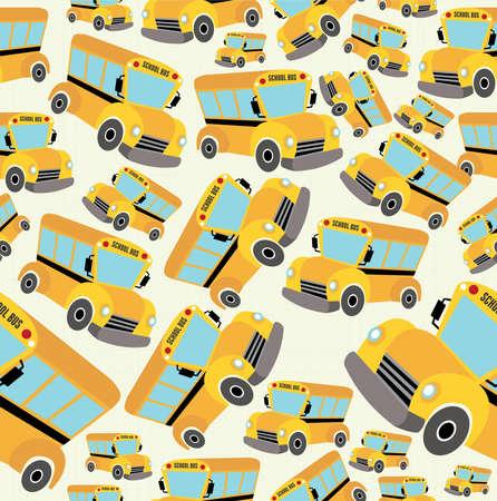 endlos: Schulbus Muster Illustration Hintergrund.