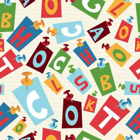 endlos: Back to School Briefe nahtlose Muster Illustration Hintergrund