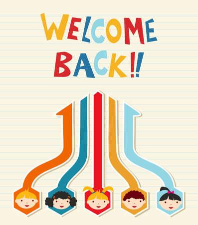 welcome smile: Bienvenido de nuevo a la escuela ilustraci�n de un diagrama de red ni�os