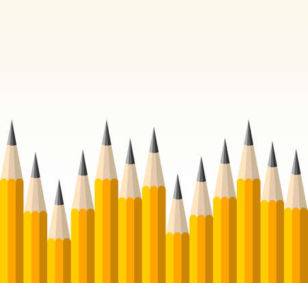 Yellow pencils banner seamless pattern Vector
