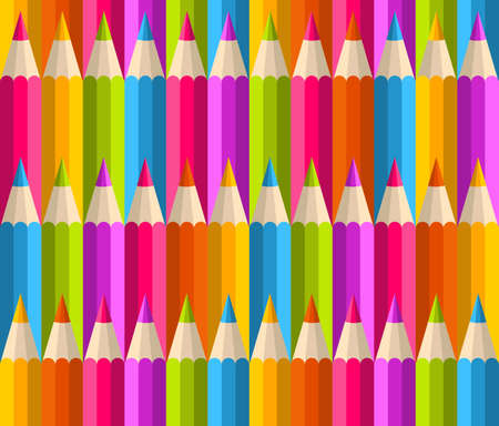 art supplies: Back to school rainbow pencil seamless pattern.
