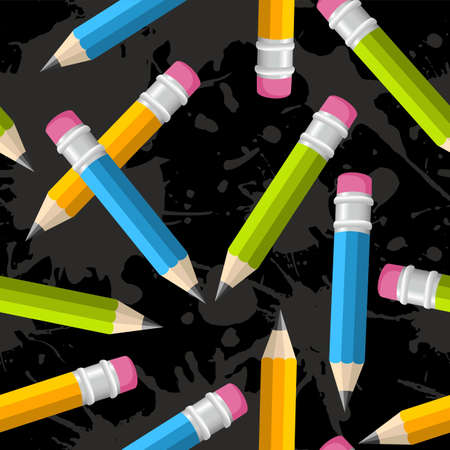 back round: Colorful pencils seamless pattern illustration over grunge background.