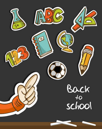 kid pointing: Back to School icon set sketch in blackboard with kid hand pointing
