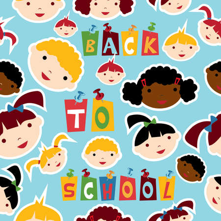 Diversity racial back to school children faces seamless pattern Vector