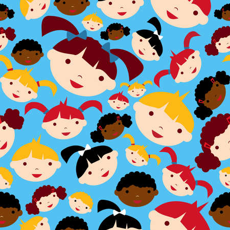 Diversity children faces seamless pattern background Vector