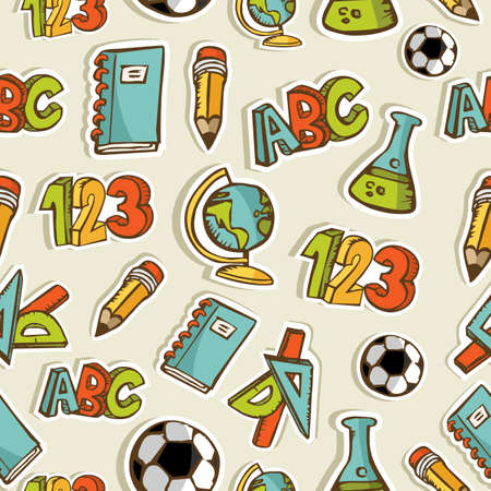 Back to School hand drawn icon set seamless pattern Vector