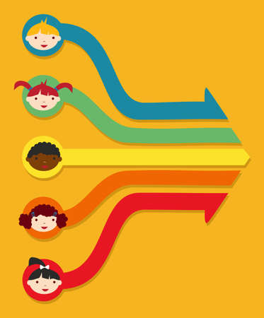 Diversiteit op school kinderen netwerkdiagram illustratie Vector Illustratie