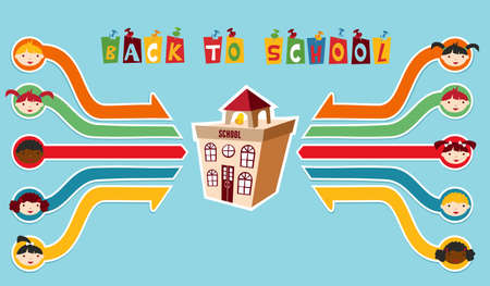 Back to School classmates network diagram background Vector