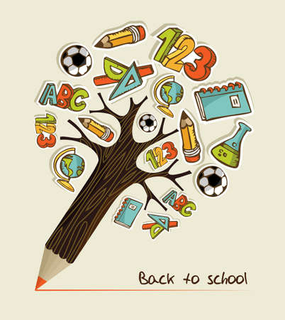 fournitures scolaires: Arbre en forme de crayon fait avec l'�cole icons illustration