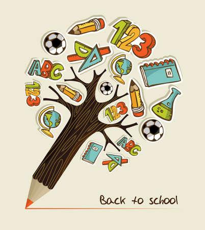utiles escolares: �rbol con forma de l�piz hecho con iconos ilustraci�n juego escolar