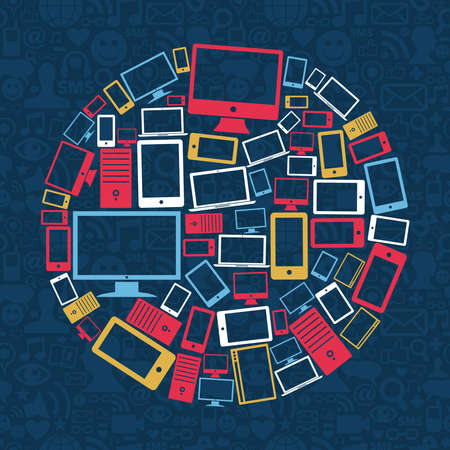 Gadgets icons circle shape over social media pattern background Vector