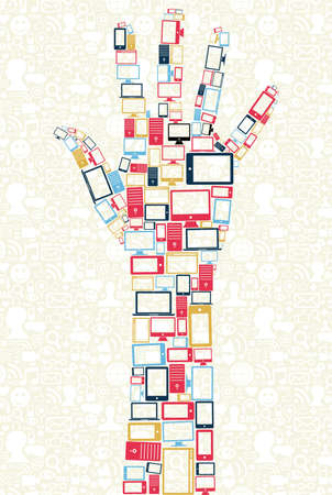 media gadget: Computer, mobile phone and tablet colors icons in human hand shape over social media background