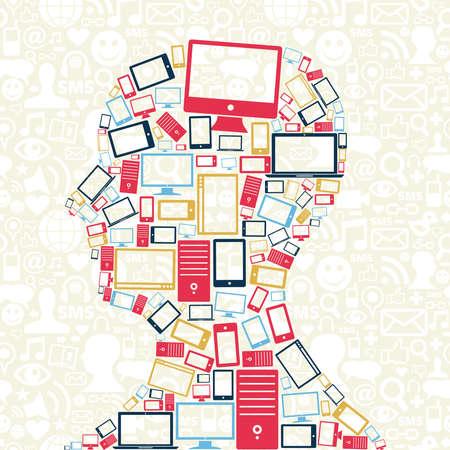 디지털: 소셜 미디어 패턴 배경 가진 남자의 머리에있는 컴퓨터, 휴대 전화 및 태블릿 색상 아이콘