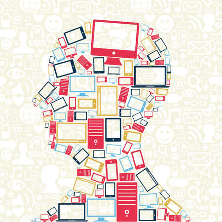 media gadget: Computer, mobile phone and tablet colors icons in man head with social media pattern background Illustration