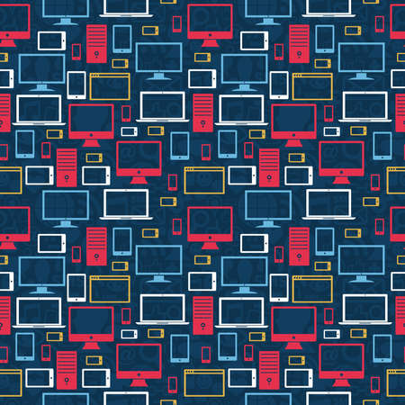 Computer, tablet and mobile icons seamless pattern over social media background Vector