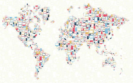 Computer, mobile phone and tablet colors icons in world shape over social media background Vector