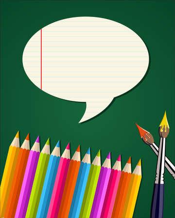 jardin de infantes: Lápices de colores y pinceles de nuevo a fondo de la escuela