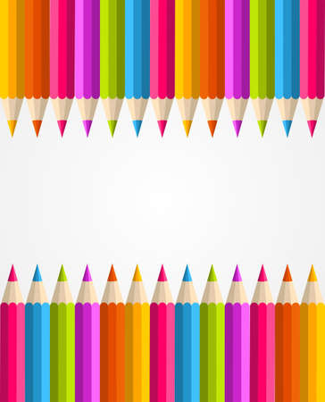 Colorful rainbow pencil banner seamless pattern background Vector