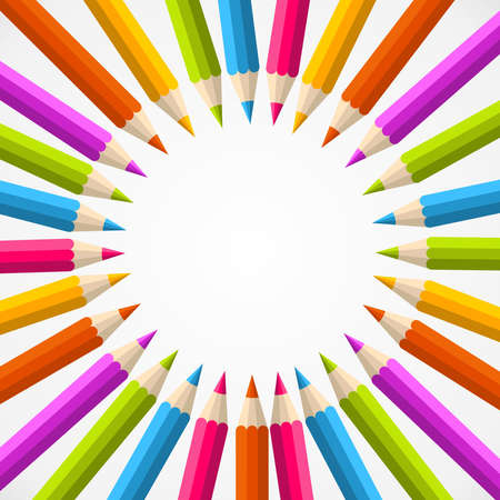 Rainbow color pencils circle illustration background Vector
