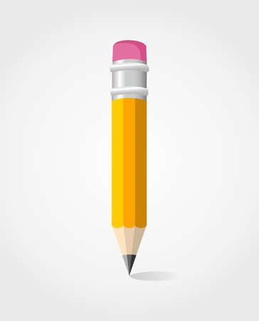 art supplies: Single yellow pencil isolated Illustration